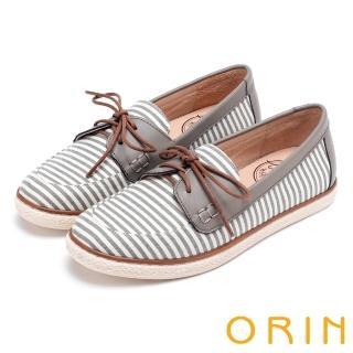 【ORIN】海洋渡假風 條紋質感拼接平底休閒鞋(灰色)