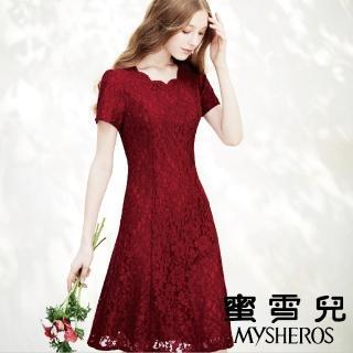 【mysheros 蜜雪兒】英倫緹花婚宴洋裝(紅)