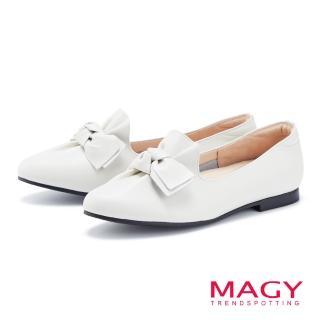 【MAGY】樂活甜美 扭結蝴蝶結素面牛皮平底鞋(白色)
