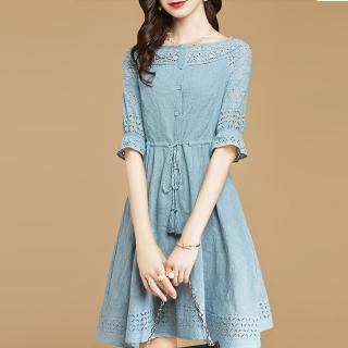 【FQ時尚天后】淺藍縷空蕾絲袖流蘇麻繩收腰洋裝(S-3XL)