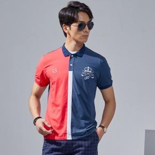 【PLAYBOY】皇家馬球撞色拼接POLO衫(藍色)