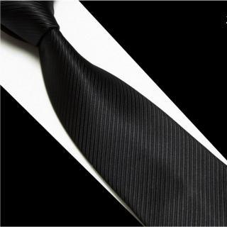 【拉福】黑色斜紋領帶8cm寬版領帶拉鍊領帶(黑)