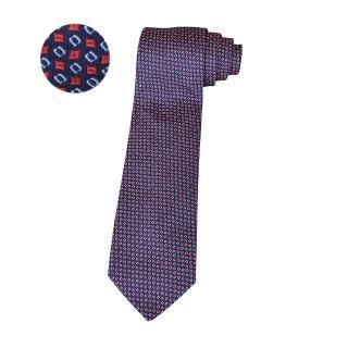 【Hermes 愛馬仕】HERMES愛馬仕7 GEOMETRIK經典緹花LOGO幾何圖案設計蠶絲領帶(深藍)