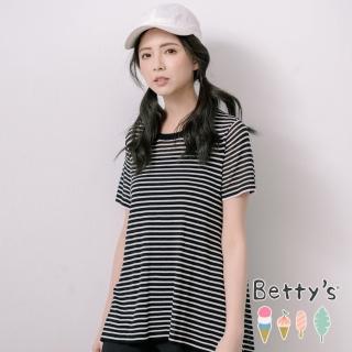 【betty's 貝蒂思】後下襬開襟燕尾透膚針織衫(黑色)