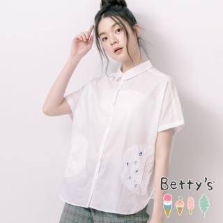 【betty's 貝蒂思】素面拼接簍空蕾絲寬版襯衫(白色)
