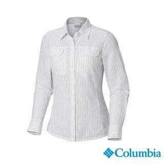 【Columbia 哥倫比亞】女款-純棉長袖襯衫-藍色條紋(UAL79900UT / 排汗.襯衫.長袖)