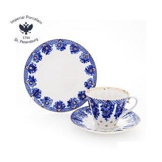 【Imperial Porcelain】俄羅斯22K金皇家金點3件組--花籃盛景系列(精緻禮品組)