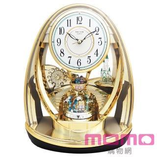 【RHYTHM 麗聲】(情人節精選)童話城堡夢幻雙擺錘裝飾藝術座鐘(金色)