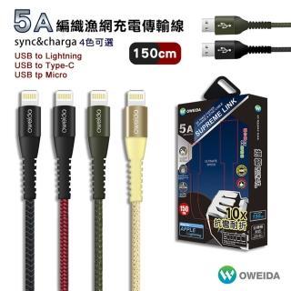 【Oweida】編織漁網線150CM iPhone Micro TypeC(充電線)