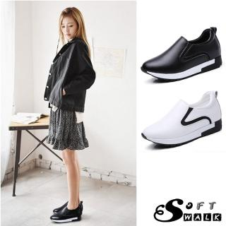 【SOFT WALK 舒步】真皮小圓頭舒適彈力內增高樂福休閒鞋(2色任選)