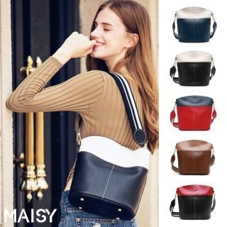 【MAISY】簡約撞色大容量單肩水桶包(現+預  藍白色 / 黑白色 / 紅藍色 / 焦糖色 / 黑紅色)