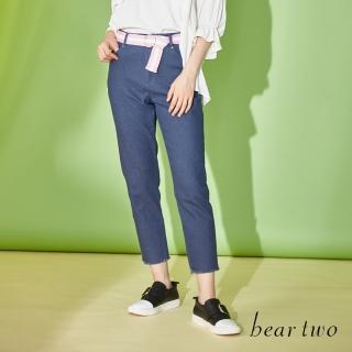 【bear two】俏皮不收邊褲管腰帶九分褲(二色)