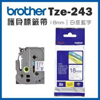 【brother】TZe-243★護貝標籤帶 18mm 白底藍字(速達)