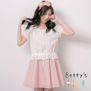 【betty's 貝蒂思】公主風蕾絲拼接點點洋裝(淺粉)