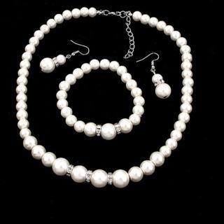 【Angel】純潔婚約珍珠耳環手環項鍊3件套組(白色)