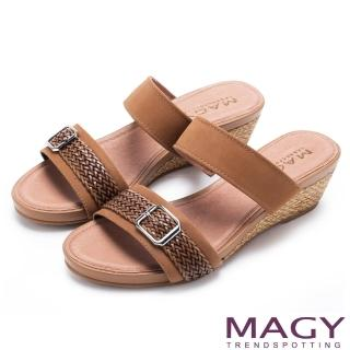 【MAGY】異國渡假風 質感真皮編織楔型拖鞋(棕色)