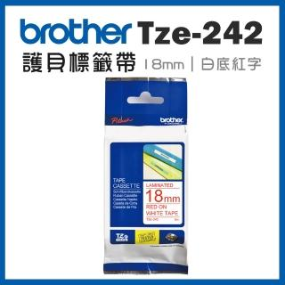 【brother】TZe-242★護貝標籤帶 18mm 白底紅字(速達)
