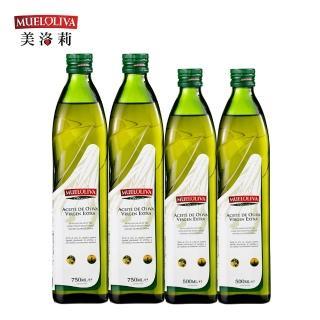 【西班牙美洛莉】晶藏-特級冷壓初榨橄欖油(750mlX2+500mlX2贈葡萄籽油x1瓶)
