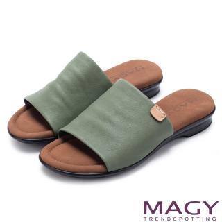 【MAGY】簡約夏日 超軟皮革寬版一字平底拖鞋(綠色)