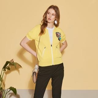 【ICHE 衣哲】時尚飾品拉鍊針織上衣外套-兩穿-山陽金黃