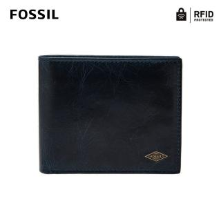 【FOSSIL】Ryan 海軍藍真皮RFID短夾 男ML3736400