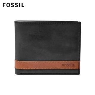 【FOSSIL】Quinn 黑色真皮大零錢袋皮夾 男ML3653001