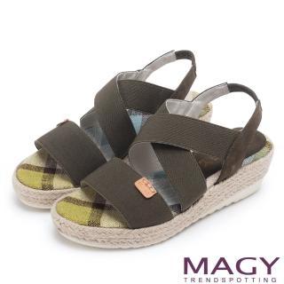 【MAGY】夏日時尚舒適 鬆緊帶牛皮編楔型拖涼鞋(綠色)