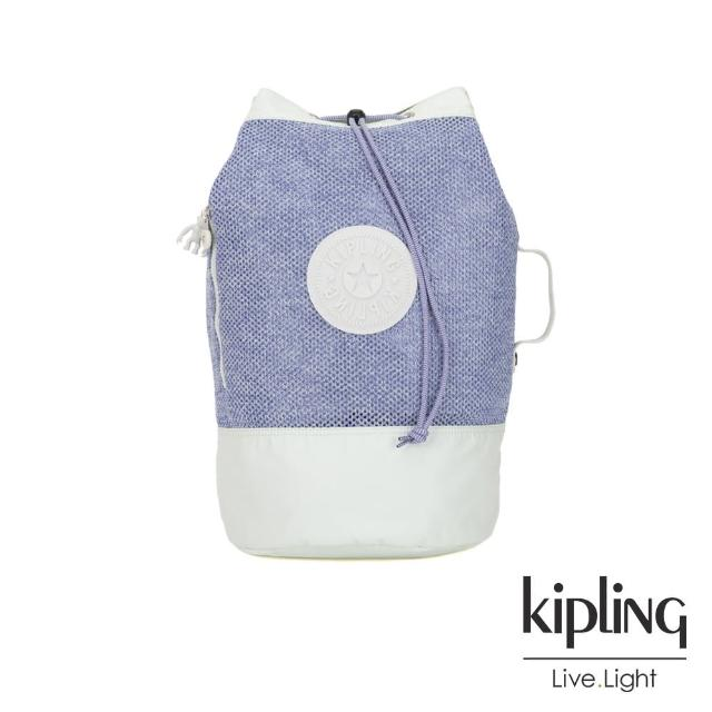 【KIPLING】渡假海灘風紫藍X白撞色拼接織料束口水桶手提後背包-ETOKO