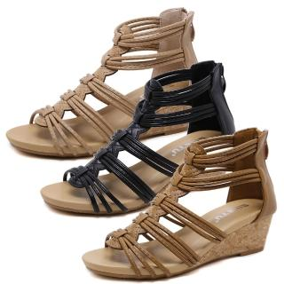 【Taroko】微熱之夏羅馬編織民族坡跟涼鞋(杏色黑色棕色3色全尺碼)