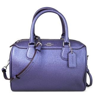【COACH】金屬光澤荔枝紋皮革波士頓款提背兩用包(藍紫色)