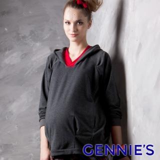 【Gennies 奇妮】010系列-寬鬆連帽上衣(紅/灰T3222)