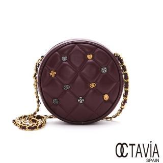【OCTAVIA 8】圓滿格釘  菱格牛皮圓型時尚釘扣肩斜二用鍊條包(美美紅)
