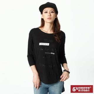 【5th STREET】女異素材拼接七分袖T恤-黑色