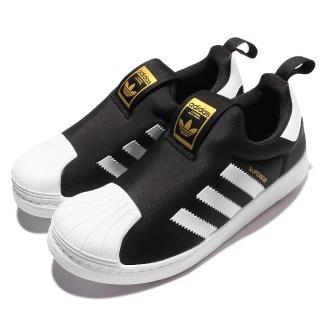 【adidas 愛迪達】休閒鞋 Superstar 360 C 襪套 童鞋 愛迪達 三葉草 經典貝殼頭 無鞋帶 黑 白(S32130)