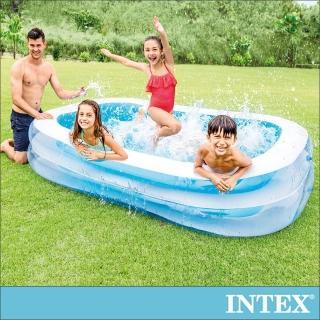 【INTEX】長方型藍色透明游泳池262x175X56cm_770L(56483N)