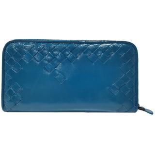 【BOTTEGA VENETA 寶緹嘉】114076 經典漆皮長夾(藍色)