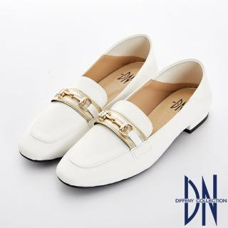 【DN】好感輕著 質感金屬樂福休閒鞋(白)
