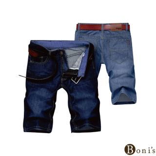 【Boni's】薄款寬鬆牛仔五分褲 M-2XL(深藍色 / 淺藍色)