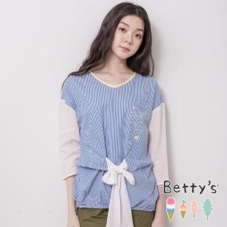 【betty's 貝蒂思】條紋拼接風綁結上衣(藍色)