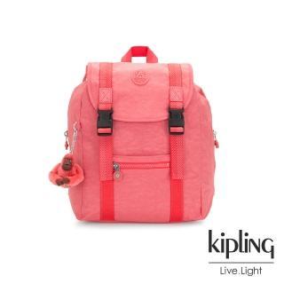 【KIPLING】甜美蜜桃橘素面雙扣掀蓋後背包-AICIL