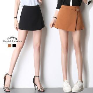 【Alishia】OL氣質假兩件短褲裙 S-XL(現+預 焦糖 / 黑色)