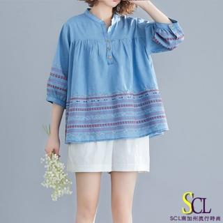 【SCL 南加州丹寧】清爽淺藍繡花牛仔風上衣