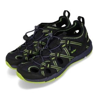 【MERRELL】涼鞋 Hydro Choprock 戶外運動 女鞋 多功能鞋 快乾 耐磨 抓地 快速綁帶 大童 黑綠(MK261264)