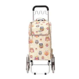 【THE CARROS 卡蘿】輕便時尚購物車-36L波浪三輪-香檳貓頭鷹