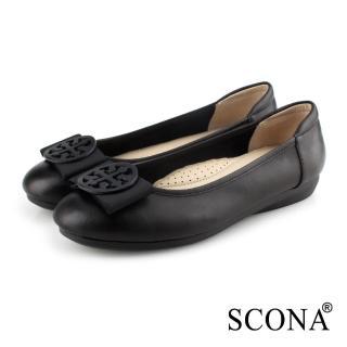 【SCONA 蘇格南】全真皮 氣質舒適平底娃娃鞋(黑色 31030-1)
