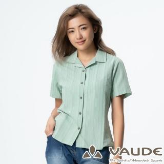 【VAUDE】女短袖條紋襯衫(VA-06052綠條/吸溼排汗/透氣舒適/簡約質感/零碼出清)