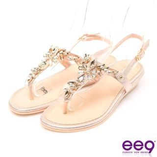 【ee9】MIT經典手工鑲嵌閃耀亮鑽露趾夾腳拖鞋 金色(夾腳拖鞋)