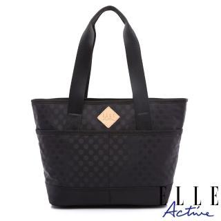 【ELLE active】波卡圓點系列-多用托特包/購物袋/肩背包-黑色