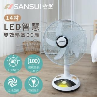 【SANSUI 山水】★加碼贈K歌神麥★獨家專利 14吋LED智慧雙效驅蚊DC扇(SDF-14M01)