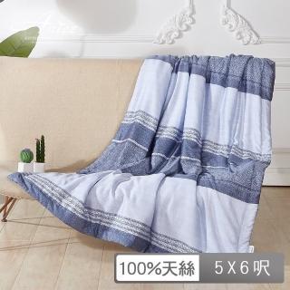 【A-nice】100%天絲涼感 加框包邊 夏涼被(152X182cm/T-281藍曲 / T2)